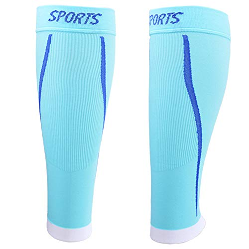 Sport Waden Kompressionsstrümpfe - Kompression Sleeve Laufstrümpfe für Herren & Damen Laufen, Joggen, Radfahren,Light Blue,S