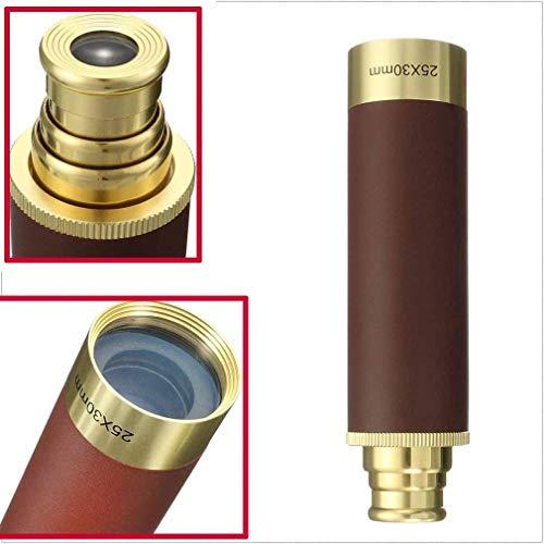 Haolv Einstellbares Push-Pull-Handheld-Wasserdichte Taschenfernrohr, 25x30 faltbares Monokular-Kapitäns Messing-Teleskop
