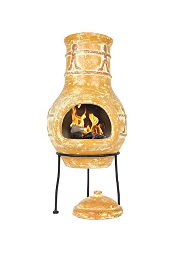 La Hacienda Companero Clay Chimenea, Small-Burnt Ton-Kamin, Burtn Orange