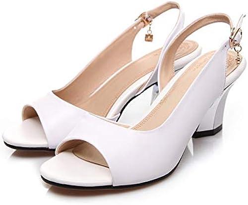 MENGLTX High Heels Sandalen 2019 Frauen Aus Aus Aus Echtem Leder Schuhe Frau Pumpt Mode Peep Toe Party Hochzeit Schuhe Weißliche Pumpt Neue Schuhe  Limit kaufen