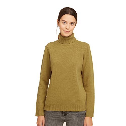 Dames Pullover Coltrui Sweater van 100% Virgin wol kleur salie groen