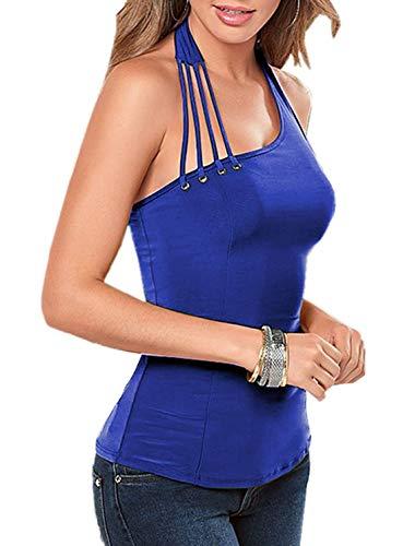 Letnia kamizelka damska wiązana na szyi bandaże moda jednolity kolor klasyczny wąski podkoszulek elegancka bluzka na jedno ramię ubrania