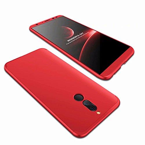 AILZH Huawei Mate 10 Lite Hülle 360 Grad Schutzhülle PC Schale Anti-Schock Shockproof Ganzkörper Schützend Anti-Kratz Stoßfänger 360° Full-Cover Case Matte Schutzkasten(Rot)