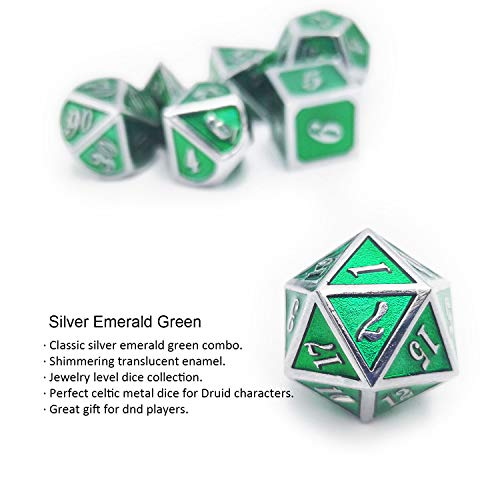 Haxtec Metal Dice Set D&D Polyhedral DND Dice for Dungeons and Dragons RPG Table Games-DND Dice Silver Emerald Green