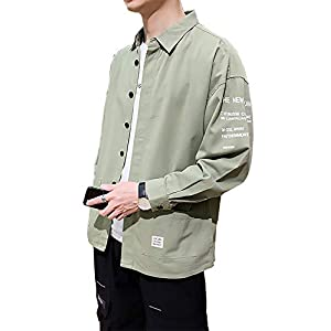 [Make 2 Be] 長袖 シャツ シャツジャケット カジュアル オーバーサイズ シンプル 比翼仕立て ドロップショルダー ビッグシルエット 無地 ロゴ 春秋 7分袖 MF09 (41.Green_L)