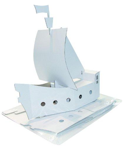 Kreul 39101 - Joypac Bastelkarton Piratenschiff, ca. 48 x 18 x 50 cm groß, aus stabiler weißer Pappe, zum bemalen, bekleben und dekorieren, ideal für Kinder