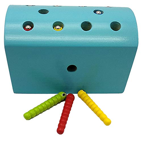Wumudidi Montessori Wooden Magnetic Catch Insects Game Toys, Développement de l'enfant pour la Coordination œil-Main et la motricité Fine Couleur du Bois