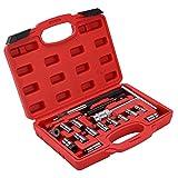 AYNEFY Cortador de inyectores diésel para inyectores diésel, para asiento de coche, 17 piezas, con caja de almacenamiento para garaje