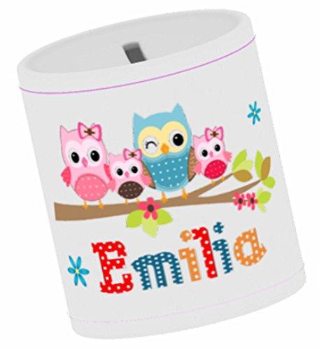 wolga-kreativ Spardose Kinder mit Namen Eulenfamilie Geldgeschenk Sparschwein Baby Geschenk Taufe Geburtstag Taufgeschenke für Mädchen Jungen Kinder Trinkgeldkasse Kaffeekasse Sparbüchse Taufgeschenk