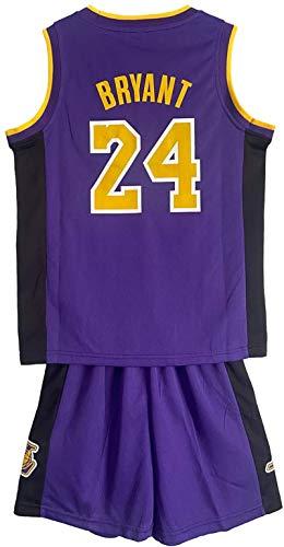 EWSDF # 24 Conjunto de Jersey para niños Uniforme de Baloncesto de los Lakers Ropa Deportiva para niños XL