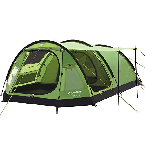 KingCamp Family Camping Tunnel Tent 3-4 Person 3-Seasons Roomy Waterproof Portable Fire-Resistant Sky-Window Instant Outdoor Family Tent for Party Car...