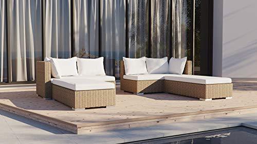 ARTELIA - Safira Polyrattan Loungemöbel - Gartenmöbel-Set für Garten, Terrasse, Wintergarten und Balkon, Rattan Sonneninsel Gartenmöbel, Chestnut Hellbraun