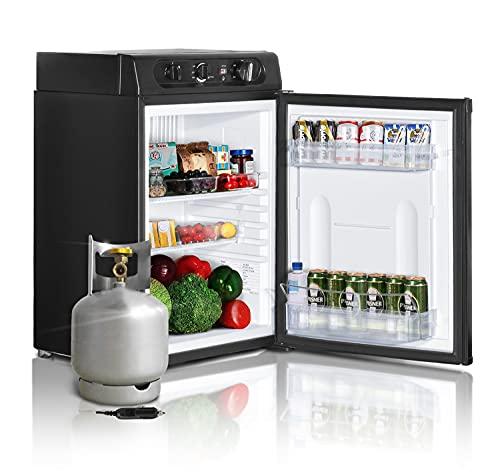 SMETA 12V Compact Fridge Camper Refrigerator, Propane Fridge for RV Camper Truck Trailer, 110V/12V/Gas Mini Fridge, 1.4 Cu.Ft, Black