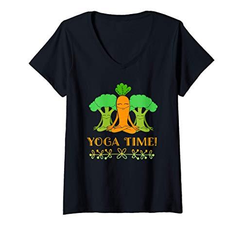 Mujer Diseño vegano Ropa de yoga linda Regalos divertidos para Camiseta Cuello V
