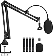 Microphone Arm Stand, TONOR Adjustable Suspension Boom Scissor Mic Stand with Pop Filter, 3/8
