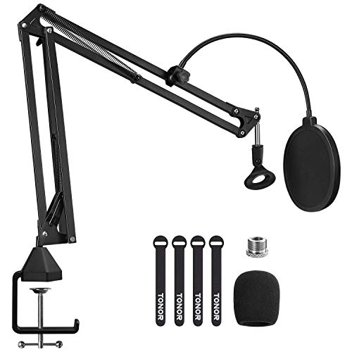 Microphone Arm Stand, TONOR Adjustable Suspension Boom Scissor Mic Stand with Pop Filter, 3/8' to 5/8' Adapter, Mic Clip, Upgraded Heavy Duty Clamp for Blue Yeti Nano Snowball Ice and Other Mics(T20)