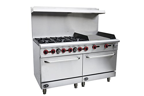 Heavy Duty Commercial 60' Gas 6 Burner Range with 24' Gas Griddle &...