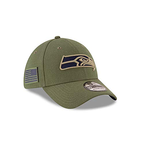 New Era Seattle Seahawks 39thirty Stretch Cap On Field 2018 Salute to Service Green - M - L
