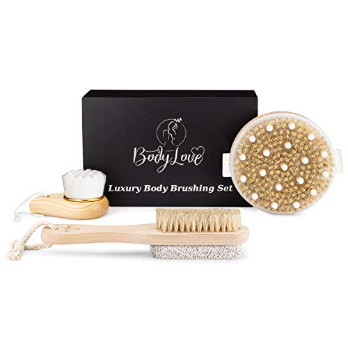 Premium Dry Brushing Body Brush Set: Natural Boar Bristle Body Dry Brush, Luxury Face Brush & Pedicure Brush. Exfoliation for Soft Skin & Feet, Reduces Cellulite, Boosts Collagen, Great Gift for Women