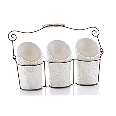 Kitchen Utensil Holders (4 Pieces) - 3 Ceramic Utensil Crocks (4  Dia x 7  H each) & 1 Metal Caddy - White & Embossed Design