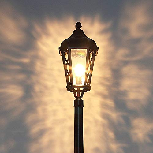 Continental Traditionele Victoria antieke lantaarn van glas, waterdicht, 1 lamp, zuil, lamp, villa, gazon, licht, landschap, tuin, palen, buitenverlichting, LED, E27, decoratie, vloerlamp, zwart