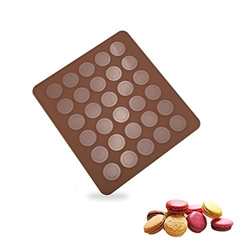 Macaron Stampo Forno Silicone 30 Capacità Tappetino Riutilizzabile Per Macarons Biscotti Muffin al Cioccolato,Antiaderenti,28cm×25 cm