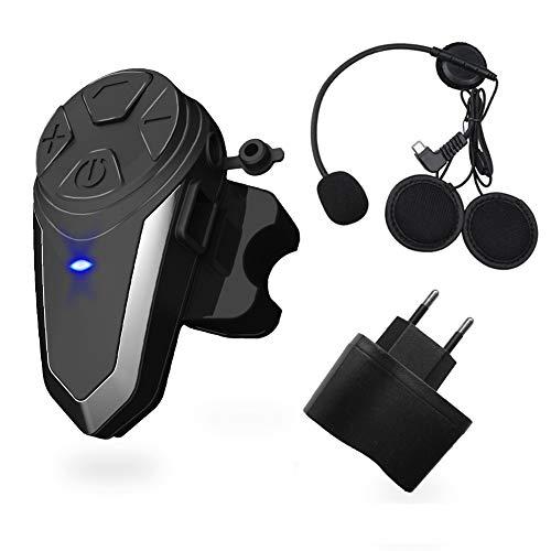 vFound BT-S3 1000m Interfaz de Motocicleta Casco Auriculares Sistemas de comunicación en Tiempo Real Manos Libres Radio FM Intercomunicador Bluetooth Impermeable para 2 o 3 pasajeros(1 Pieza)