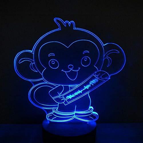 Yujzpl 3D-illusielamp Led-nachtlampje, USB-aangedreven 7 kleuren Knipperende aanraakschakelaar Slaapkamer Decoratie Verlichting voor kinderen Kerstcadeau-klein aapje