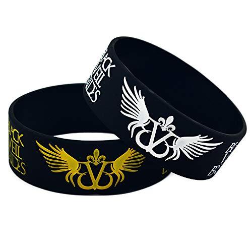 Zdy 2 Stks Siliconen Armband 1 Inch Armband Zwarte Sluier Bruiden Zwarte Sluier Bruiden Siliconen Polsband