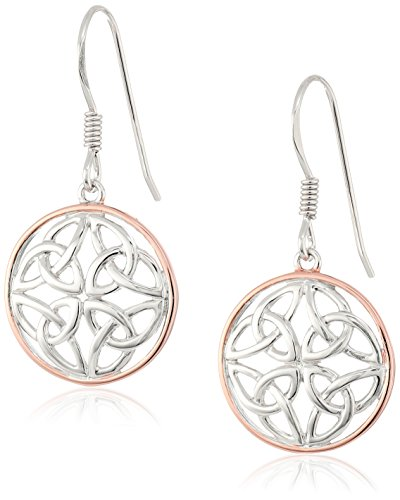 14k Rose Gold Plated Sterling Silver Two Tone Celtic Knot Round Drop Earrings