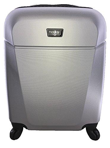 Maleta Equipaje de mano cabina rígida ligera con 4 ruedas, 55cm, TERRAE, color, Silver SL0942