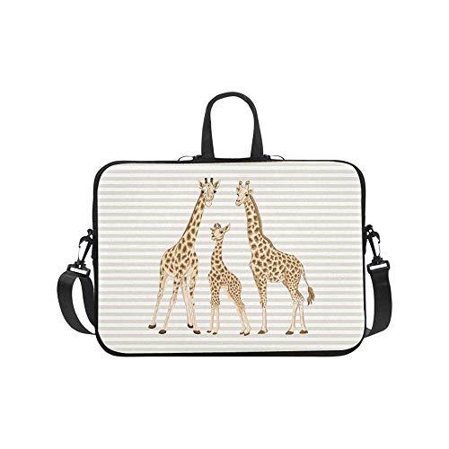 InterestPrint Cute Animal Giraffe Family on Beige and White Stripes 17 17.3 Inch Waterproof Neoprene Laptop Sleeve Notebook Computer Case Shoulder Bag with Handle & Strap for Women Men