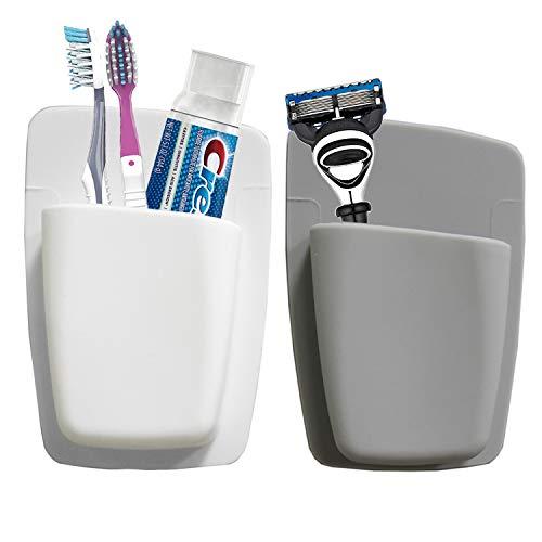 Qualsen Zahnbürstenhalter, Bad zahnbürsten Halter Wand, zahnputzbecher Halter ohne Bohren, wandgriff zahnbürsten aufbewahrung (2Pcs, Weiß + Grau)
