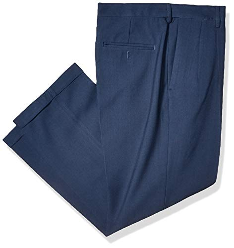 Haggar Men's Premium Comfort Classic Fit Pleat Expandable Waist Pant, Blue, 38Wx30L