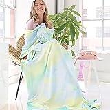 Ailemei Rainbow Tie Dye Blanket for Girls, Twin to Full Size Soft Warm Fuzzy Bed Fleece Blankets for Teen Girl, Cute Funny Decorative Flannel Blankets, Warm Blankets for Adults, Green Mint
