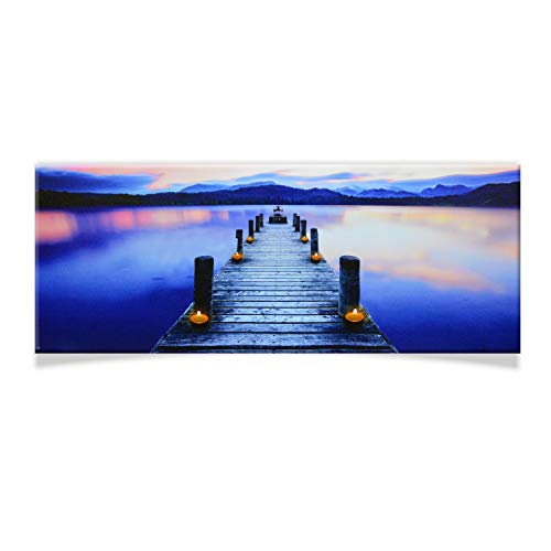 DRULINE LED Wandbild | Leinwand | Bild | Beleuchtet | Batteriebetrieben | Fotografie | Indoor | Steg | Keilrahmen | 100 x 40 x 2 cm