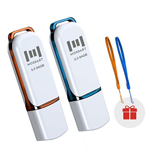 64GB USB 3.0 Flash Drive 2 Pack Jump Drive 64 GB High Speed Thumb Drive USB3.0 Zip Drive Memory Stick with LED Light and Lanyards for Storage and Backup by MOSDART
