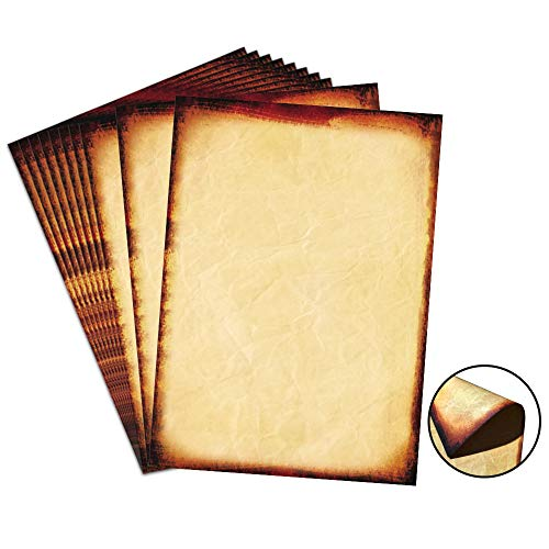 """48 Pack Antique Parchment Stationary Paper 8.5""""x 11"""" Vintage Paper for Writing and Printing, Double Sided Old Fashion Aged Scrapbook for Journal, Calligraphy, Invitations and Certifications"""