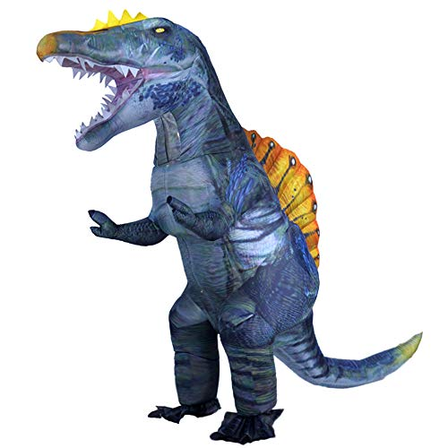 Newest Dinosaur Costume for Adults Inflatable Spinosaurus Costume Blow up Halloween Costumes Carnival Party Cosplay Fancy Dress