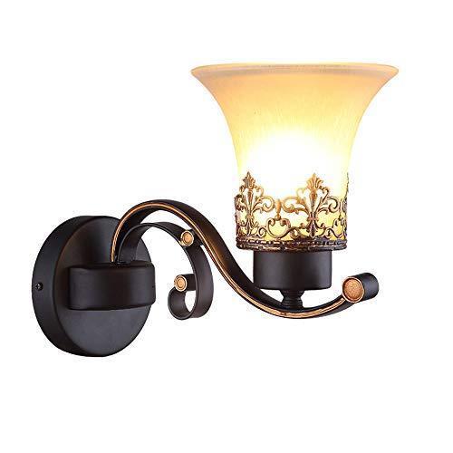 American retro hierro forjado cuerno lámpara de pared patio jardín villa LED lámpara de pared se puede utilizar en el hotel sala de estar dormitorio junto a la cama pasillo pasillo lugar de ocio tiend