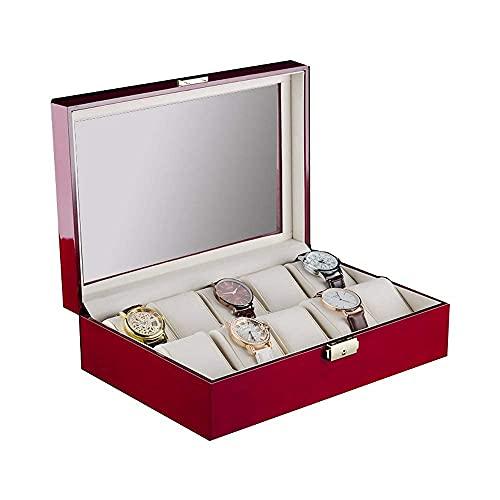 Organizador de Cajas de Reloj Vitrinas de 10 Ranuras con Tapa de Vidrio y Cerradura Segura Reloj Unisex Cajas de Soporte de joyería Caja de Reloj de Pulsera