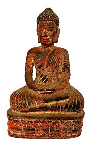 Estatua de Buda de madera estilo tailandés antiguo, 26 cm