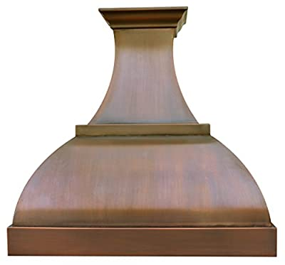 Curved Copper Range Hood with Professional Stainless Steel Vent Motor Fan H1S