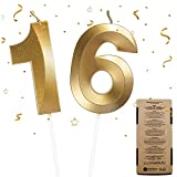 Velas de Cumpleaños 16, Velas de Pastel de Cumpleaños - Cake Topper Decoracion para Tartas de Cumpleaños, 2 Piezas Velas de Números para Fiesta de Cumpleaños Boda Aniversario Celebración (Número 16)
