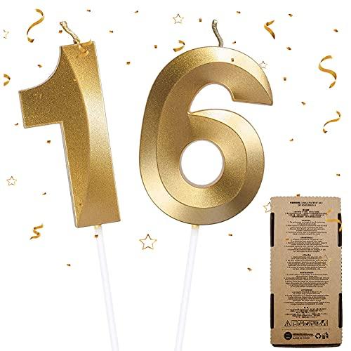 2Pcs Candele di Compleanno, Numero Candele Decorazione Candeline Torta Compleanno Candela Numero 1&6, Candele per Torta di Compleanno per Happy Birthday Cake Topper Festa Nozze Anniversario(Numero 16)