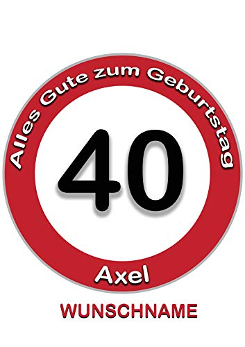 40 Geburtstag Wunschname Tortenaufleger Tortenbild Fondant Ø 20cm / 1425