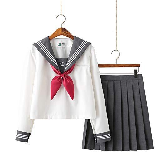 Escolar de Japón Traje de Marinero Disfraz de Colegiala Japonesa Uniforme JK, Anime Cosplay Traje de Sailor Moon para Mujeres Niñas, Top de Manga Larga + Falda (L)