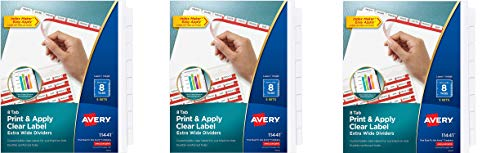 AVERY 8-Tab Extra Wide Binder Dividers, Easy Print & Apply Clear Label Strip, Index Maker,White, 5 Sets (11440) (Pack of 3)