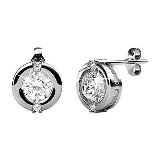 Cate & Chloe Zara Radiant White Gold Stud Earrings, 18k White Gold Plated Stud with Solitaire Round Cut Swarovski Crystal,...