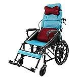 Silla de ruedas plegable ligero, autopropulsado Sillas de ruedas, silla de ruedas de coche de los niños de múltiples funciones totalmente mentira plana con silla de ruedas reclinable de conducción méd